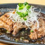 夜ご飯のマグロの頬肉ステーキ